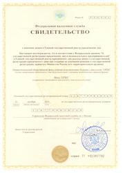 Свидетельство о регистрации в ЕГРЮЛ
